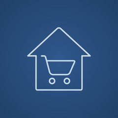 House shopping line icon.