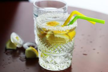 glass ice lemon