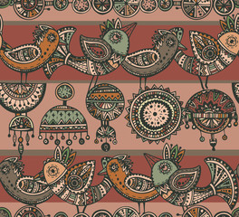 Seamless pattern with hand drawn fancy birds in ethnic style wit