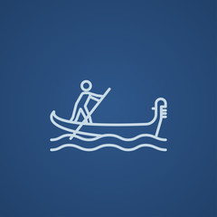 Sailor rowing boat line icon.