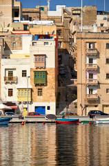 The view of residental houses on Senglea, Malta.