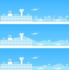 空港 ブルー背景