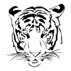 Tiger head black and whit, Vector