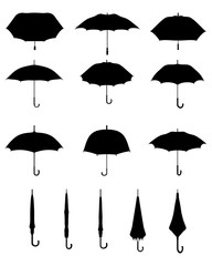 Black silhouettes of open and closed umbrellas, vector
