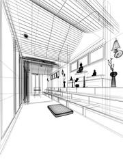 sketch design of interior buddha room