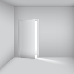 empty white room with opened door.  Vector Illustration