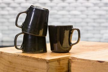 Black ceramic coffee cups