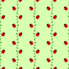 Seamless vector pattern with insects, symmetrical background with bright little ladybugs and branches with leaves, on the green backdrop