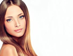 Beautyful Girl with brown hair .Long straight hair Shine . Hairstyle beauty  model  hair