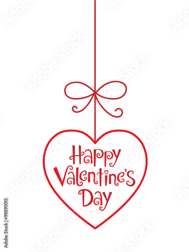 Happy Valentine S Day Pendant In Festive Tree Font Stock Image And