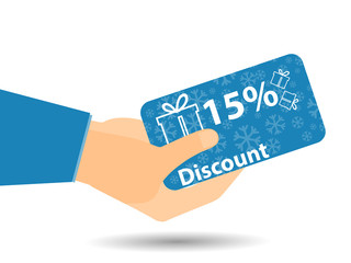 Discount coupons in hand. 15-percent discount. Special offer. Sn