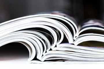 Close-up of magazine pages
