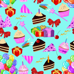 Birthday seamless pattern with cakes, cupcakes, balloons, gifts on blue background. Colourful birthday wallpaper. eps10 vector illustration