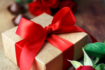 Gift with a red bow