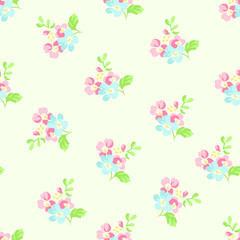 Seamless floral pattern with little pink and blue flowers