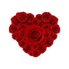 heart of beautiful red roses flower, happy valentine day