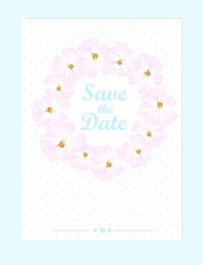 Vector wedding card with pastel pink roses