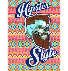 Hipster skull with beard and mustache