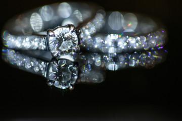 Two splendid wedding rings on a wedding day.