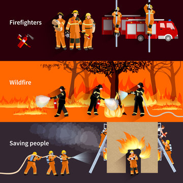 Horizontal Firefighter People Banners Set