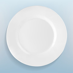 realistic white plate in vector