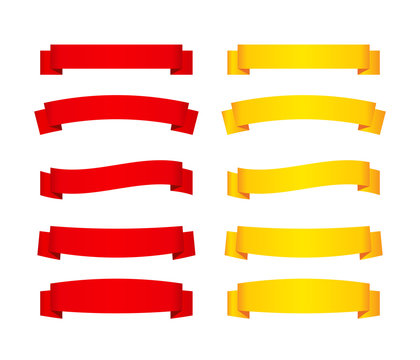 Set of red and yellow ribbon banners. Vector illustration.