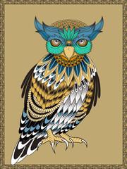elegant owl coloring page