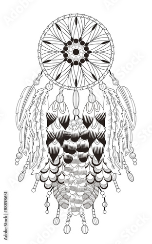 dream catcher coloring page Stock image and royalty free vector