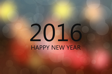 Abstract circular bokeh background of HAPPY NEW YEAR 2016 light use  blurred effect background