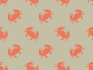 Seamless crab vector pattern