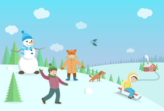 Happy kids playing winter games. Winter landscape with forest an