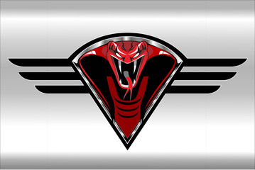 Red cobra on the black winged metallic shield