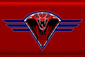 Red cobra on the blue winged metallic shield