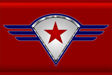 red star on the winged shield