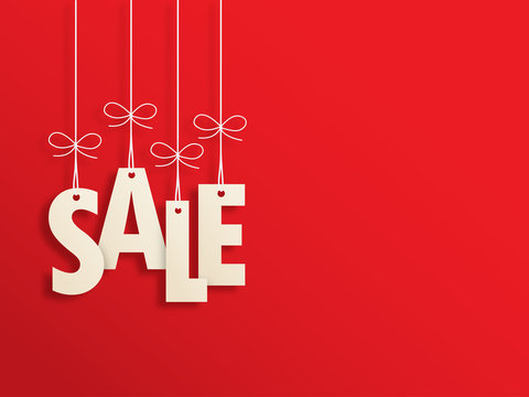 Suspended SALE letters on red background
