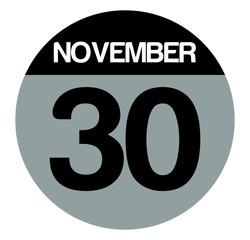 30 november calendar circle