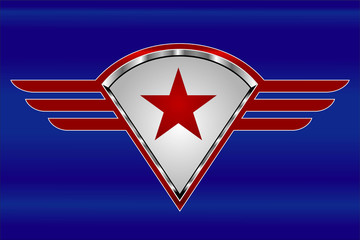 red star on the winged shield. star and wings.
