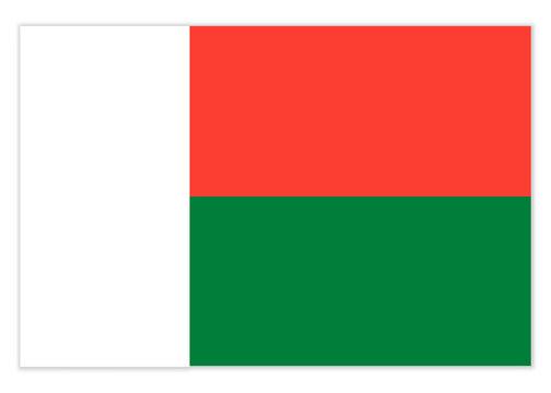 Flag of the Republic Madagascar with shadow