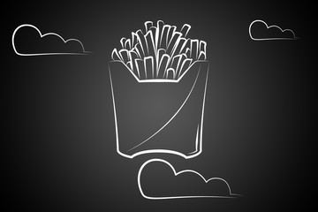 A icon art illustration of French fries