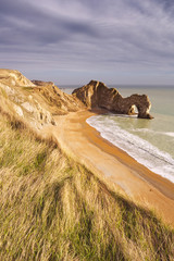 Durdle Door rock arch in Southern England from above
