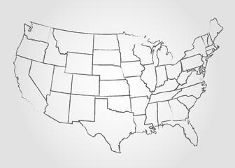 USA Sketch Map Illustration