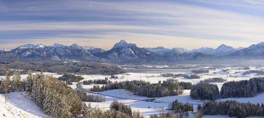 Wall Mural - Panorama Landschaft in Bayern im Winter