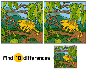 Find differences, game for children (chameleon)