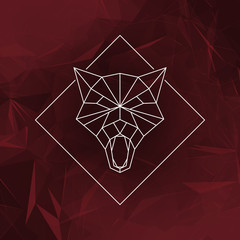 The wolf head sign (Icon) - Vector illustration. The wolf head in low poly style on the abstract geometric background.