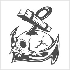Anchor and skull