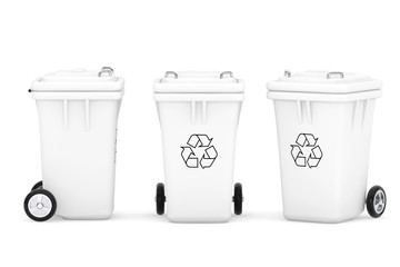 White Garbage Trash Bins