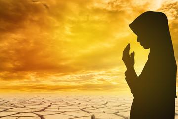 Muslim Woman pray and Beautiful background. pray for ramadan, pr
