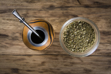 yerba mate on wooden table