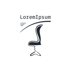 Vector of Chair icon.  Business icon for the company. This concept logo, label or badge for furniture shops, salons. Furniture company. Illustration.