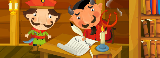 Cartoon scene - nobleman signing pledge  - illustration for the children